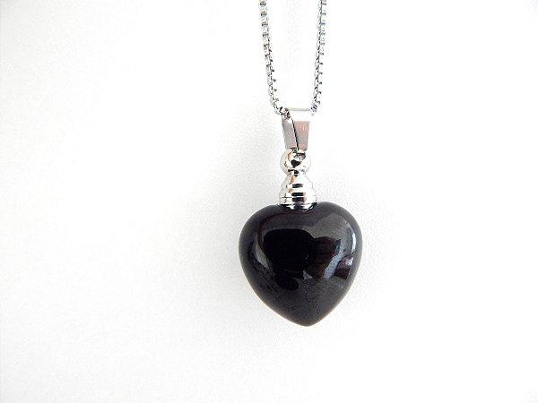 Colar Perfumeiro de Pedra Natural - Obsidiana