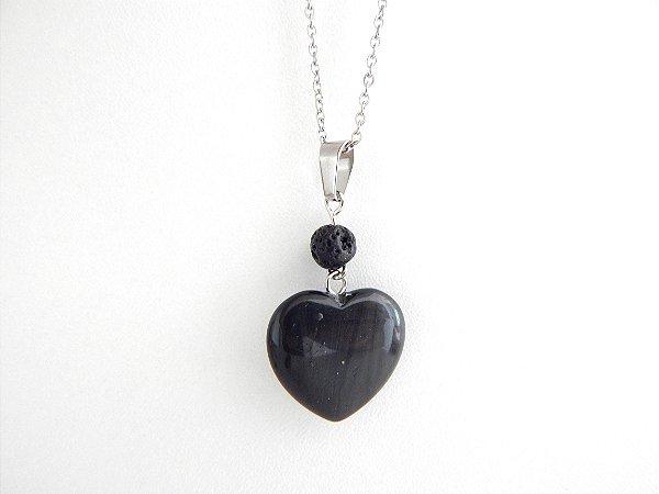 Colar Difusor Pessoal Coração de Capricórnio - Ônix