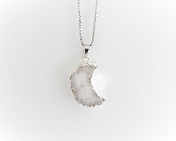 Colar Lua de Cristal - Prata