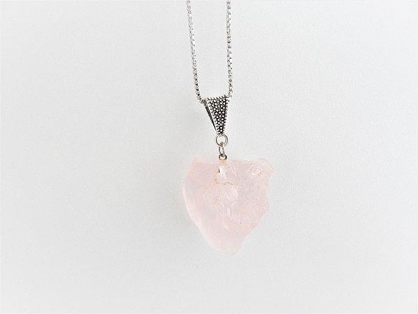 Colar Difusor Pessoal de Pedra Natural Bruta - Quartzo Rosa