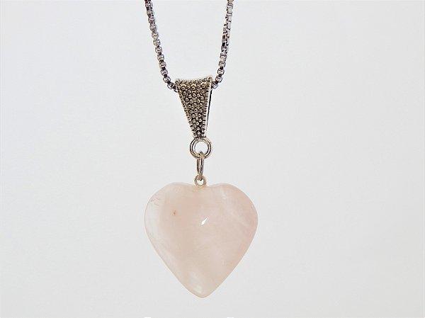 Colar Coração de Pedra - Quartzo Rosa
