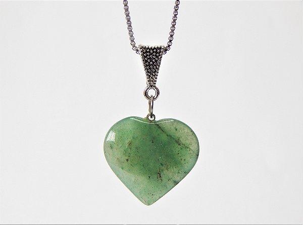 Colar Coração de Pedra - Quartzo Verde