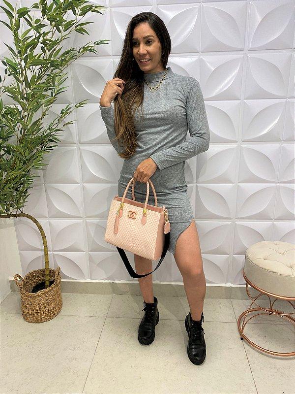 Vestido Canelado Fernanda Midi Cinza