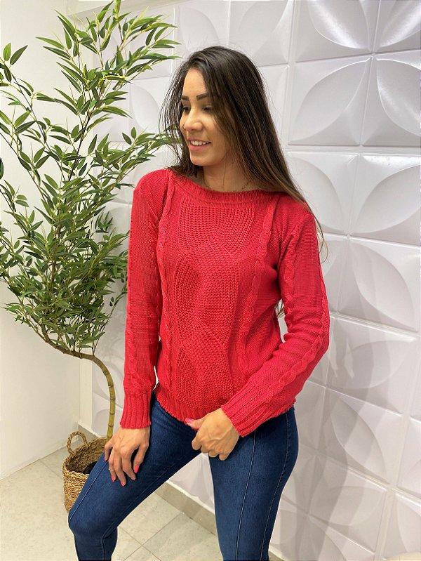 Blusa Tricô Paula Trançado Vermelho
