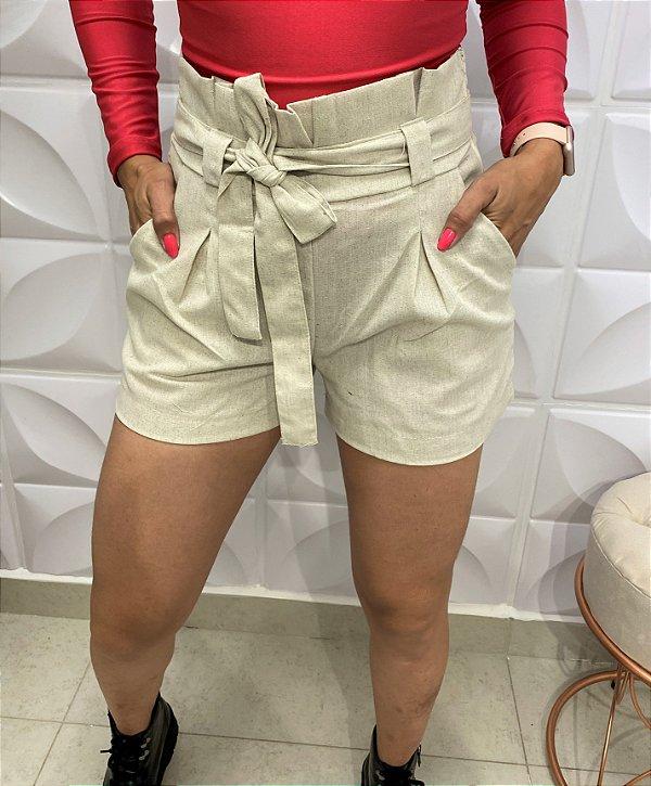 Shorts Linho Pioto Bege
