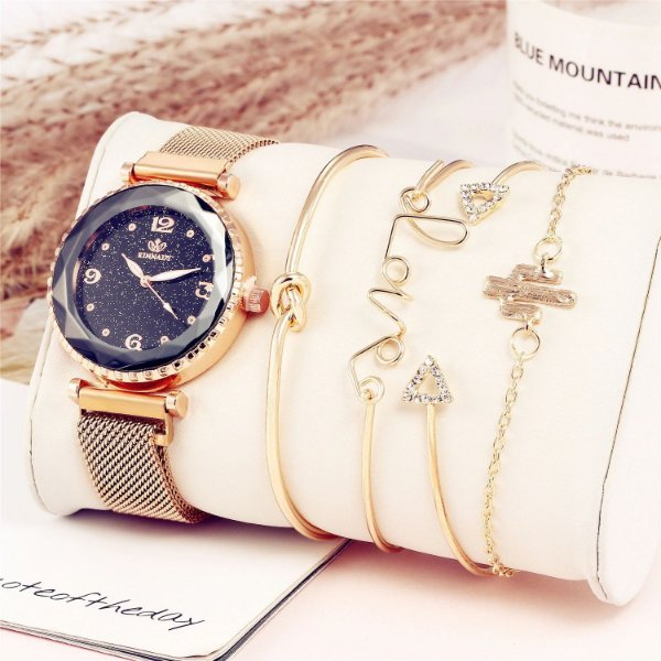 Relógio Feminino Luxo Kit com 4 Pulseiras