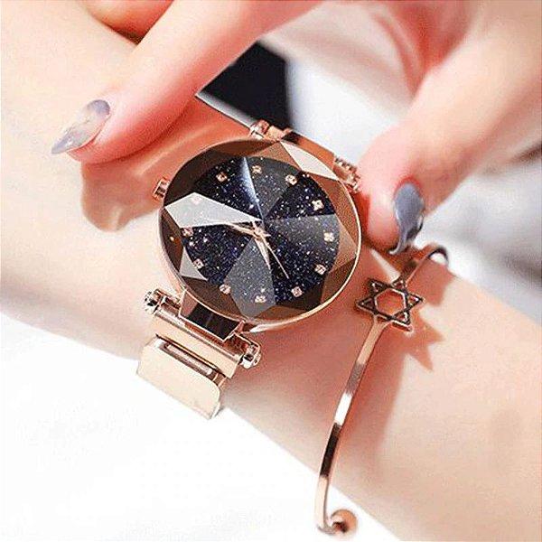 Relógio Feminino Céu Estrelado com Pulseira Magnética