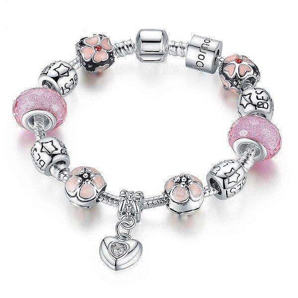 Bracelete Banhado a Prata Love Pink com Contas e Berloques