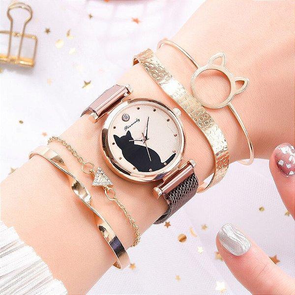 Conjunto de Relógio Cat com Pulseiras Elegante 5 Pcs