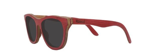 Óculos de Sol de Madeira Leaf Eco Drop Vermelho