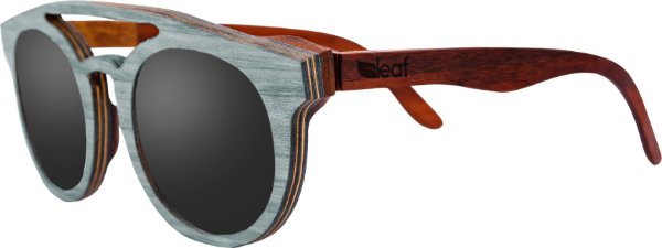 Óculos de Sol de Madeira Leaf Eco Eleanor Azul Claro Mogno