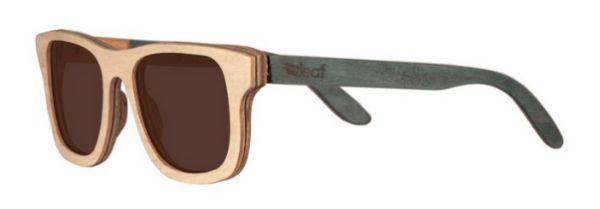 Óculos de Sol de Madeira Leaf Eco Roy Maple Azul Claro