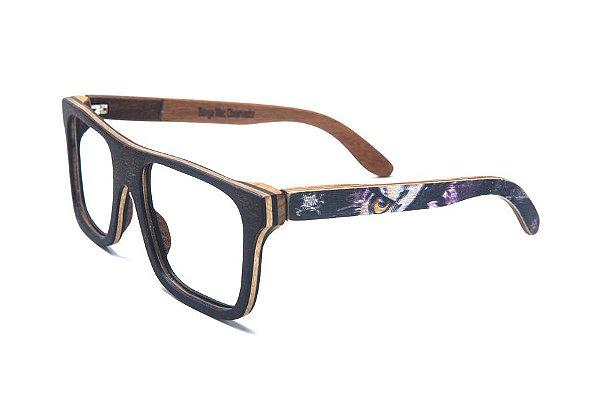 Armação de Óculos de Madeira de Grau 40Collors Graffiti Observador Beagle Preto