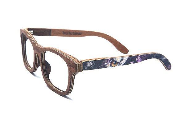 Armação de Óculos de Madeira de Grau 40Collors Graffiti Observador Groove Jacarandá