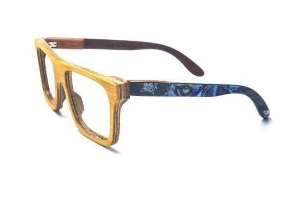 Armação de Óculos de Madeira de Grau 40Collors Graffiti Predador Beagle Amarelo