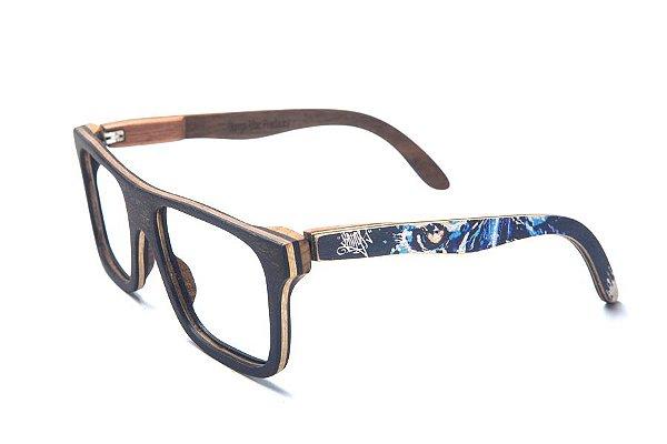 Armação de Óculos de Madeira de Grau 40Collors Graffiti Predador Beagle Preto