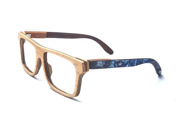 Armação de Óculos de Madeira de Grau 40Collors Graffiti Predador Beagle Cerejeira
