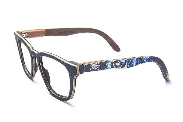 Armação de Óculos de Madeira de Grau 40Collors Graffiti Predador Charles Preto