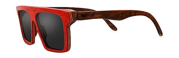 Óculos de Sol de Madeira Leaf Eco Sanchez Vermelho com Louro Preto