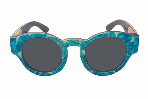 Óculos de Sol de Madeira com Palheta de Guitarra Azul Clara Leaf Eco Pelican Lente Cinza