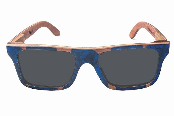 Óculos de Sol de Madeira com Palheta de Guitarra Azul Escura Leaf Eco Beagle Lente Cinza