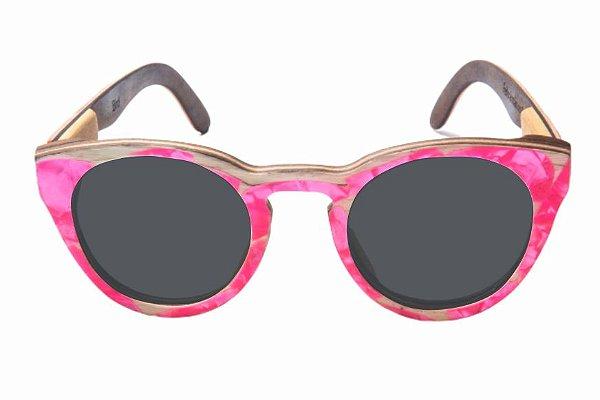 Óculos de Sol de Madeira com Palheta de Guitarra Rosa Leaf Eco Bird Lente Cinza