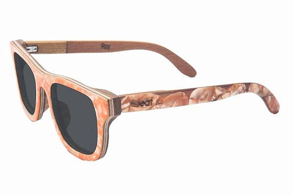 Óculos de Sol de Madeira com Palheta de Guitarra Laranja Leaf Eco Roy Lente Cinza