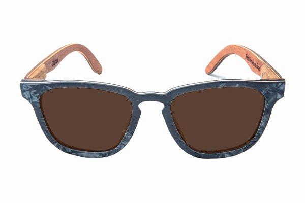 Óculos de Sol de Madeira com Palheta de Guitarra Preta Leaf Eco Charles Lente Marrom