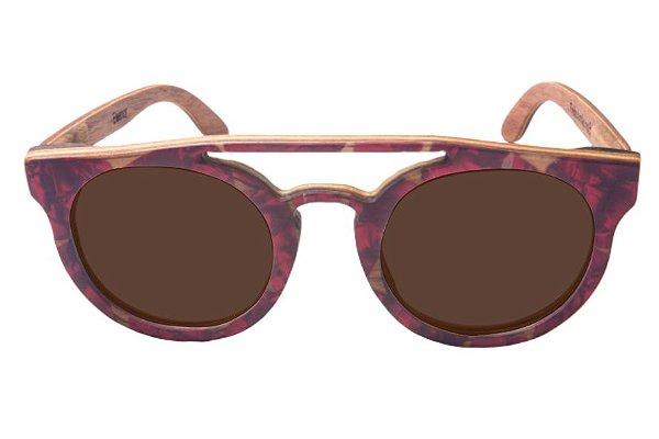 Óculos de Sol de Madeira com Palheta de Guitarra Vermelha Leaf Eco Eleanor Lente Marrom