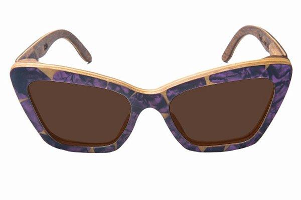 Óculos de Sol de Madeira com Palheta de Guitarra Roxa Leaf Eco Joan Lente Marrom