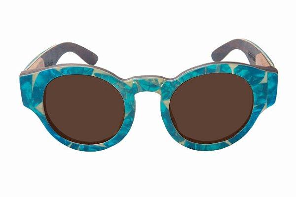 Óculos de Sol de Madeira com Palheta de Guitarra Azul Clara Leaf Eco Pelican Lente Marrom
