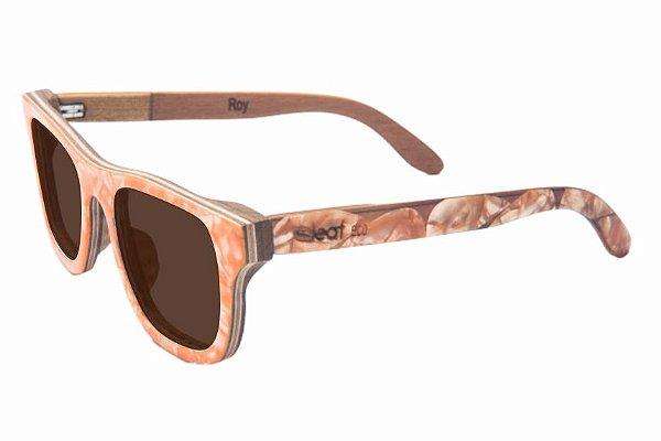 Óculos de Sol de Madeira com Palheta de Guitarra Laranja Leaf Eco Roy Lente Marrom