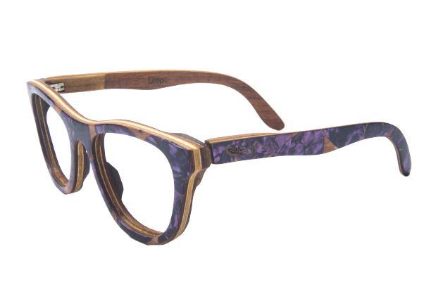 Armação de Óculos de Grau de Madeira Drop com Palheta de Guitarra