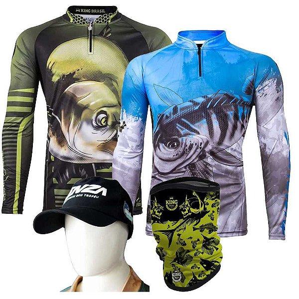 2 Camiseta de Pesca King Kff 81 + 106 GG + Breeze Grátis Boné Martinelli