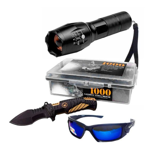 1x Lanterna Tática 1000 + 1x Canivete Tátic + 1x Óculos 6556
