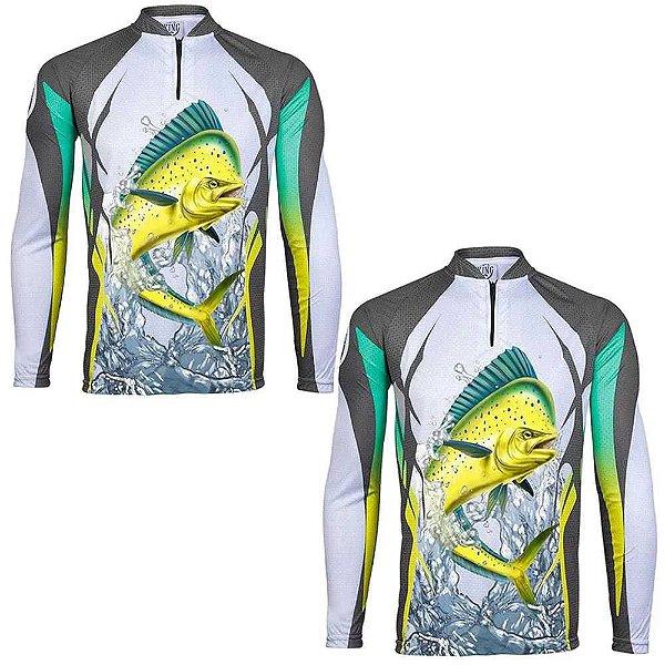 2 Camiseta de Pesca King Dourado do Mar KFF49 - tam: M