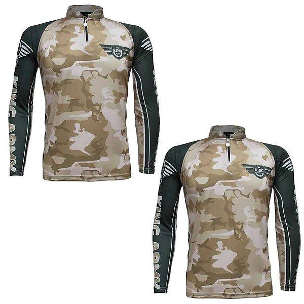 2 Camiseta de Pesca King Sublimada Army Camuflada - Tam. G