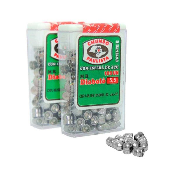 2 Chumbinho Paulist Diabolô 5,5mm c/ esfera de aço c/ 100 un