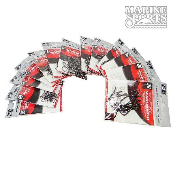 450 Un. Anzol Marine Sports Super Maruseigo Black n. 06, 08, 10, 12, 14, 16, 18, 20, 22, 24, 26, 28 e 30