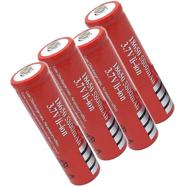 4 Bateria Recarregável Ultra Fire 18650 5800mah 3,7v Li-ion