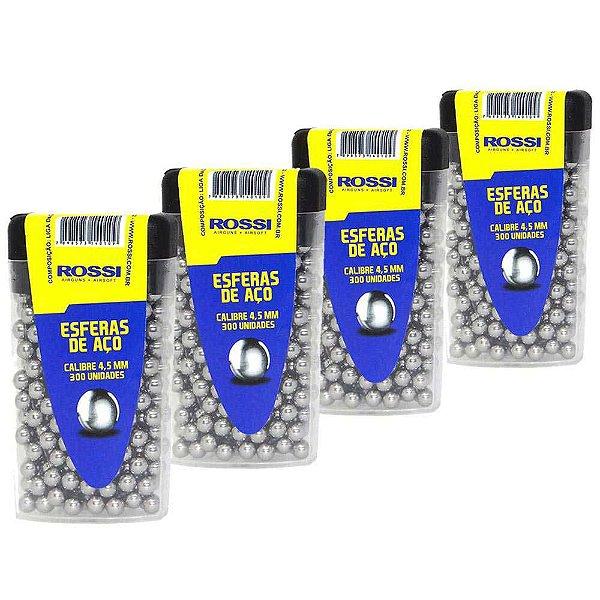 4 Esferas de aço Rossi 4,5mm c/ 300 un. cada
