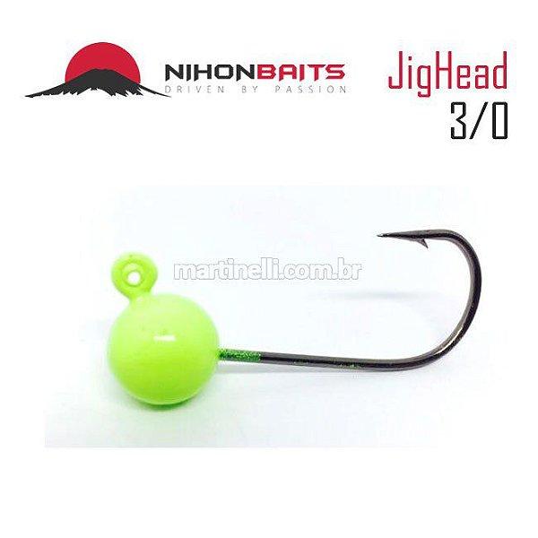 Anzol Jig Head Nihon Baits 10g - 3/0 Cor: Verde Limão
