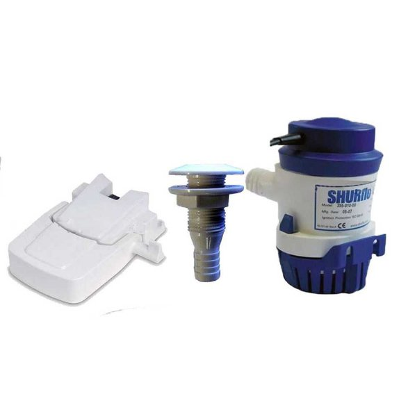 Automático bomba de porão + Bomba 1000 GPH + Saída d'água.
