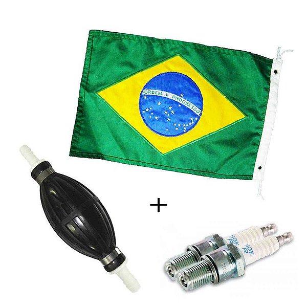 Bulbo universal com valvulas 5/16 + 2 Vela NGK B7HS-10 - Aplicação Yamaha/Suzuki/Mercury/Tohatsu até 40HP 2T + Bandeira do Brasil Bordada