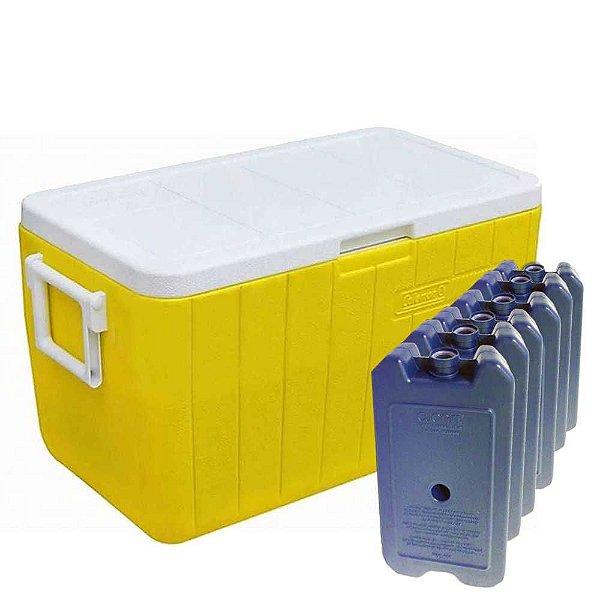 Caixa Térmica Coleman 48 QT 45,4L Amarela+ 6 Gelos Artificiais Cliogel 500ml