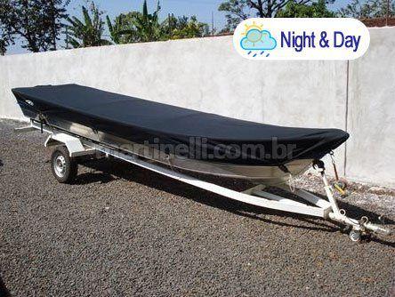 Capa de proteção para barcos de 4 a 6 metros sem volante, com capuz do motor (Lona Night and Day) NBF - Fabricamos para todas as marcas e modelos