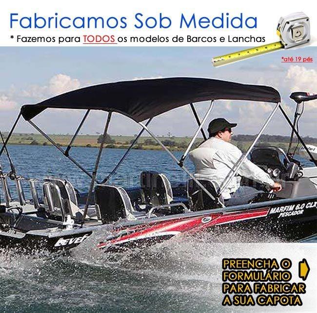 Capota Conversível toldo p/ barcos de alumínio ou fibra até 19 pés - Fabricamos para todas as marcas e modelos