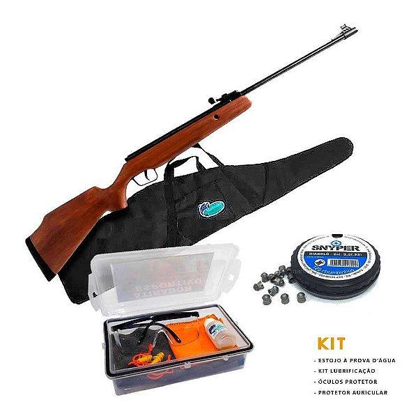 Carabina de pressão CBC B12-6 Cal. 5,5m + Bolsa + Kit Atirador Esportivo + Chumbinho