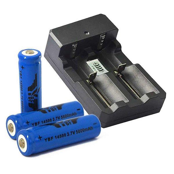 Carregador Duplo p/ Bateria+ 2 Bateria Recarregável Li-ion 14500 5800mah 3,7v