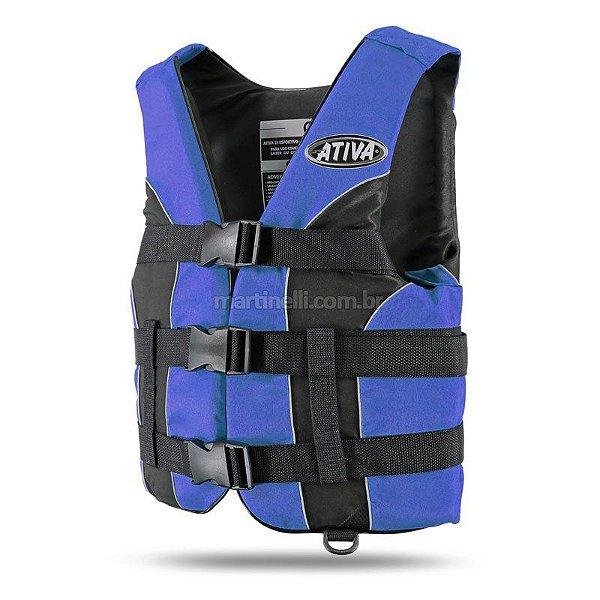 Colete Salva-vidas homologado Classe V Ativa azul GG regulável acima de 110 Kg